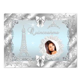 Princess Teal Blue Quinceanera Silver Photo BIG 17 Cm X 22 Cm Invitation Card