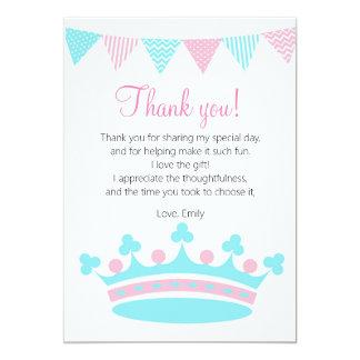 Princess Thank You Card Pink Turquoise 13 Cm X 18 Cm Invitation Card