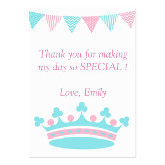 Princess Thank You Tag Label Pink Aqua Pack Of Chubby Business Cards