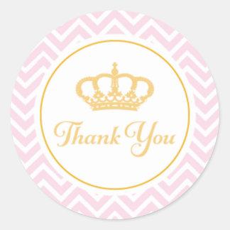 Princess Thank You Tag Round Sticker
