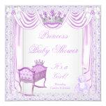 Princess Tiara Baby Shower Lilac Cradle Satin Lace 13 Cm X 13 Cm Square Invitation Card