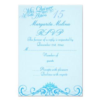 Princess Tiara Blue Quinceanera RSVP 9 Cm X 13 Cm Invitation Card