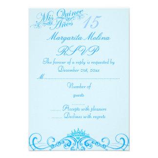 Princess Tiara Blue Quinceanera RSVP Announcements