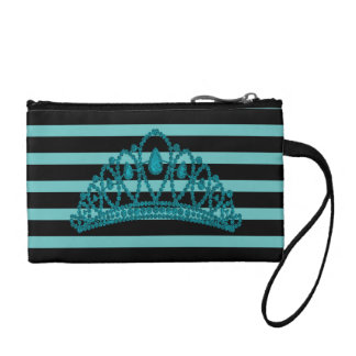 Princess Tiara Crown Modern Black Stripe Turquoise Coin Purse