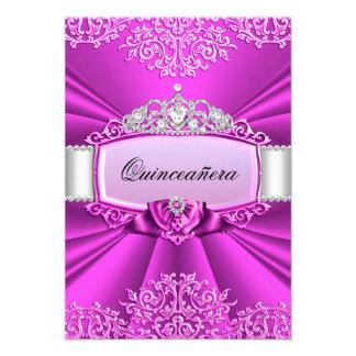 Princess Tiara Damask Quinceanera Invitation Announcements