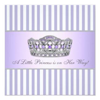 Princess Tiara Lavender Purple Baby Girl Shower 13 Cm X 13 Cm Square Invitation Card