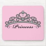 Princess Tiara Mouseapad (pink background) Mouse Mats