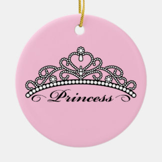 Princess Tiara Ornament (pink background)