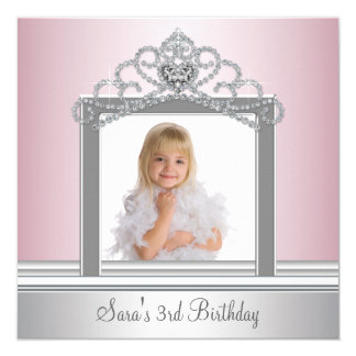 Princess Tiara Photo Princess Birthday Party 13 Cm X 13 Cm Square Invitation Card