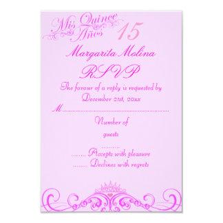 Princess Tiara Pink Quinceanera RSVP 9 Cm X 13 Cm Invitation Card