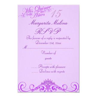 Princess Tiara Purple Quinceanera RSVP 9 Cm X 13 Cm Invitation Card