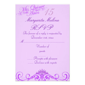 Princess Tiara Purple Quinceanera RSVP Custom Invitations
