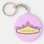 Princess Tiara Yellow Crown Custom Name Keychain