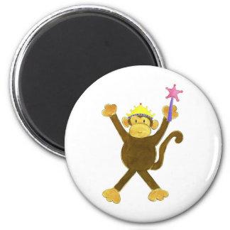 Princess Tumbling Monkey 6 Cm Round Magnet