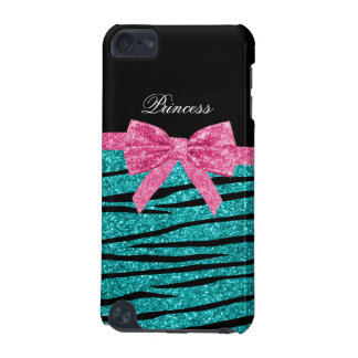 Princess turquoise glitter zebra stripes pink bow iPod touch 5G cases