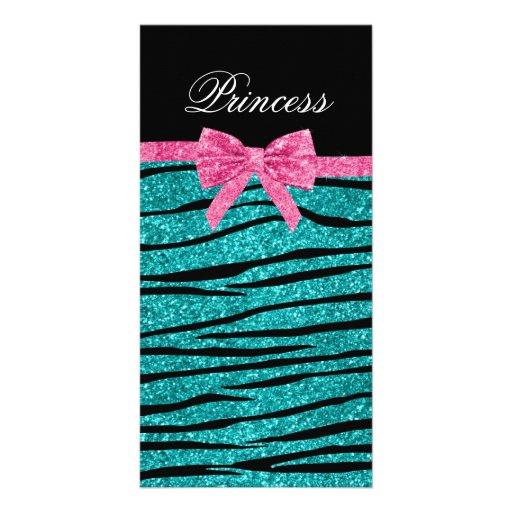 Princess turquoise glitter zebra stripes pink bow photo cards