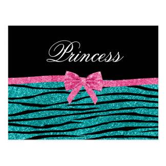 Princess turquoise glitter zebra stripes pink bow postcard
