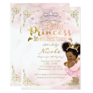 Princess Tutu & Gold Crown Ethnic Baby Girl Shower Card