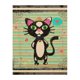 Princess Tux Cat Wood Canvas Art