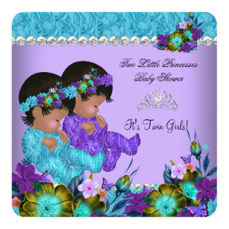 Princess Twin Baby Shower Teal Blue Purple 13 Cm X 13 Cm Square Invitation Card