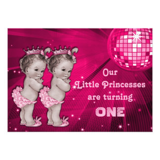 Princess Twins Pink Disco Ball 1st Birthday Invites
