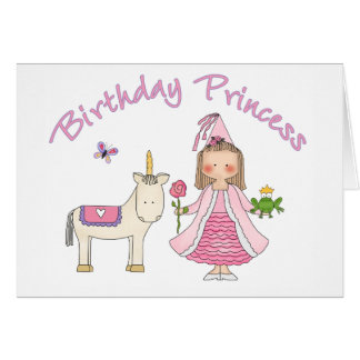Princess Unicorn Birthday Girl Card