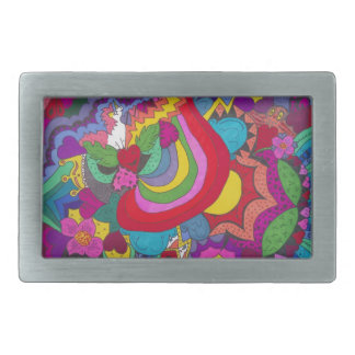 Princess unicorn jazzy pattern rectangular belt buckle