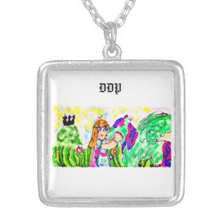 princess unicorn silver plated necklace