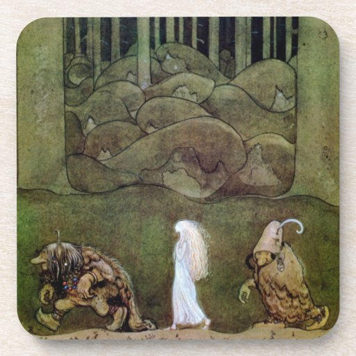 Princess Walking with Trolls Through Forest Beverage Coasters