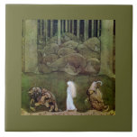 Princess Walking with Trolls Through Forest Large Square Tile