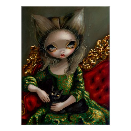 Princess with a Black Cat gothic rococo Art Print