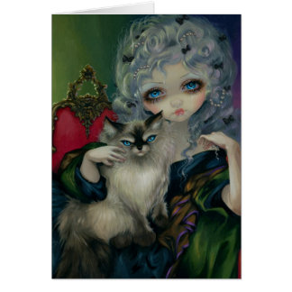 """Princess with a Ragdoll Cat"" Greeting Card"