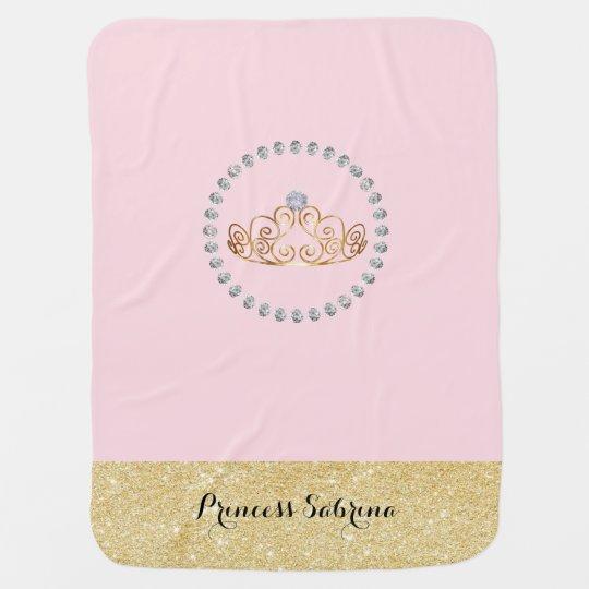 Princess with Gold Tiara with Diamond - Baby Girl Pramblankets