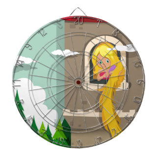 Princess with long hair on the tower dartboard with darts