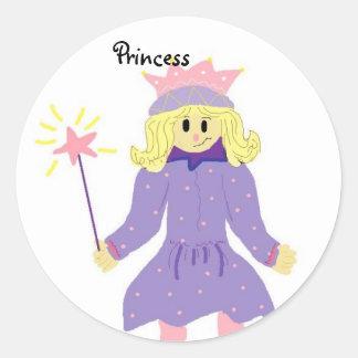 Princess With Wand Round Sticker