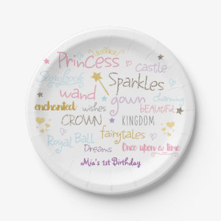 PRINCESS Words Cute Birthday Party Plates 7 Inch Paper Plate