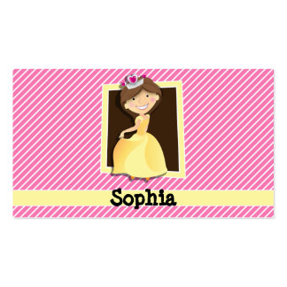 Princess, Yellow Dress; Pink & White Stripes Pack Of Standard Business Cards