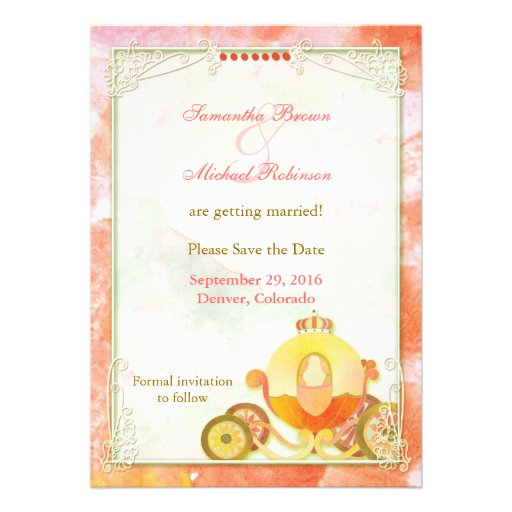 Princess's Carriage: Save the Date Invitations