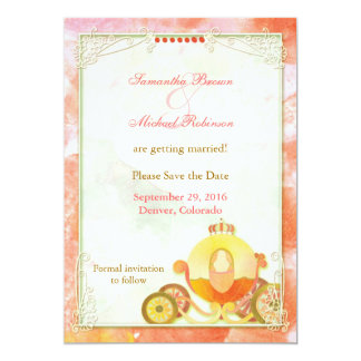 "Princess's Carriage: Save the Date Invitations 5"" X 7"" Invitation Card"