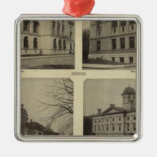 Principal bldgs, Portland, Oregon Silver-Colored Square Decoration