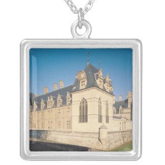 Principal facade and the south facade silver plated necklace