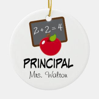 Principal School Ornament Personalized Gift Round Ceramic Ornament