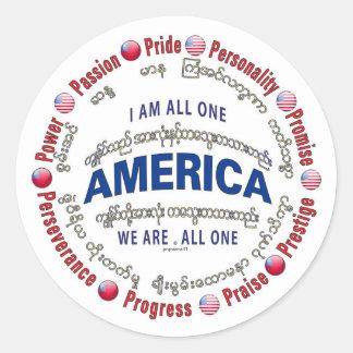 principles of life - burmese round sticker
