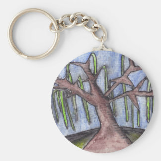 Print 8 Droopy Depressed Tree in the Middle of No Basic Round Button Key Ring
