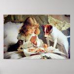 Print: Breakfast in Bed: Girl, Fox Terrier & Kitty Poster