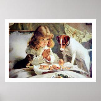 Print Breakfast in Bed Girl Terrier Cat