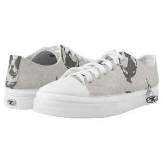 print French bulldog in vintage texture Low Tops