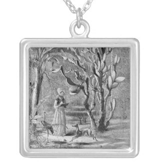 Print- garden in floria 1872 square pendant necklace
