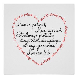 Print - Love is Patient Word Heart