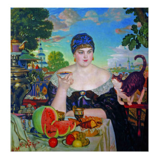 Print:  Merchant's Wife by Boris Kustodiev Poster